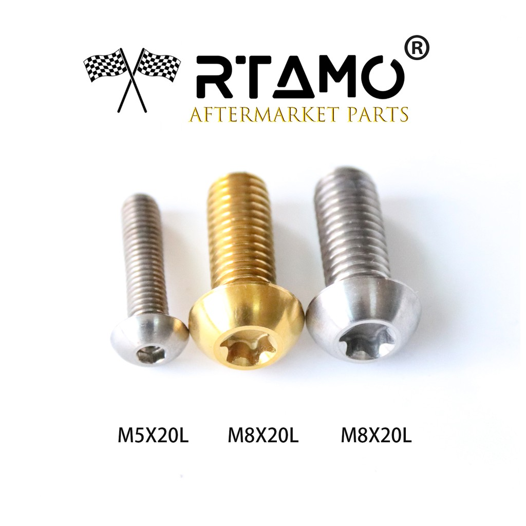 M8 x various sizes RTAMO Motorcycle Titanium Flange Hex Bolt Drilled Heads
