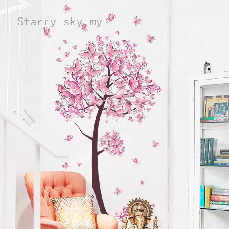 Flower Butterfly Tree Living Room Wall Stickers Decal Kid Girl Bedroom Decor Diy