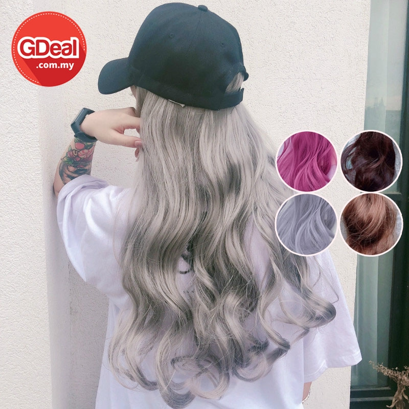 GDeal Ins New Fashion Hair Wig With Cap Curly Wave Hair Wig Easy Wear Romantic Curl Rambut Palsu
