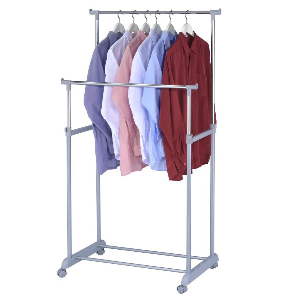 Hanger Adjustable Double Pole Garment Rack Shopee Malaysia Gantungan Baju Single