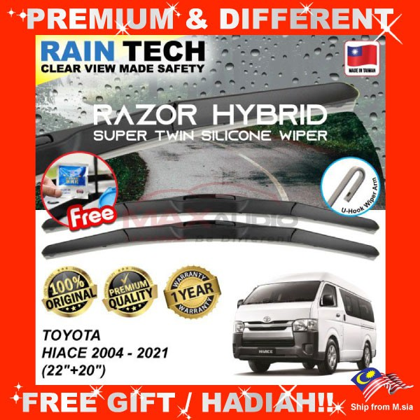 [FREE Gift] TOYOTA HIACE 2004 - 2021 (22/20) RAIN-TECH RAZOR HYBRID Silicone Aerodynamic Clean Wipe Safety Wiper Blade