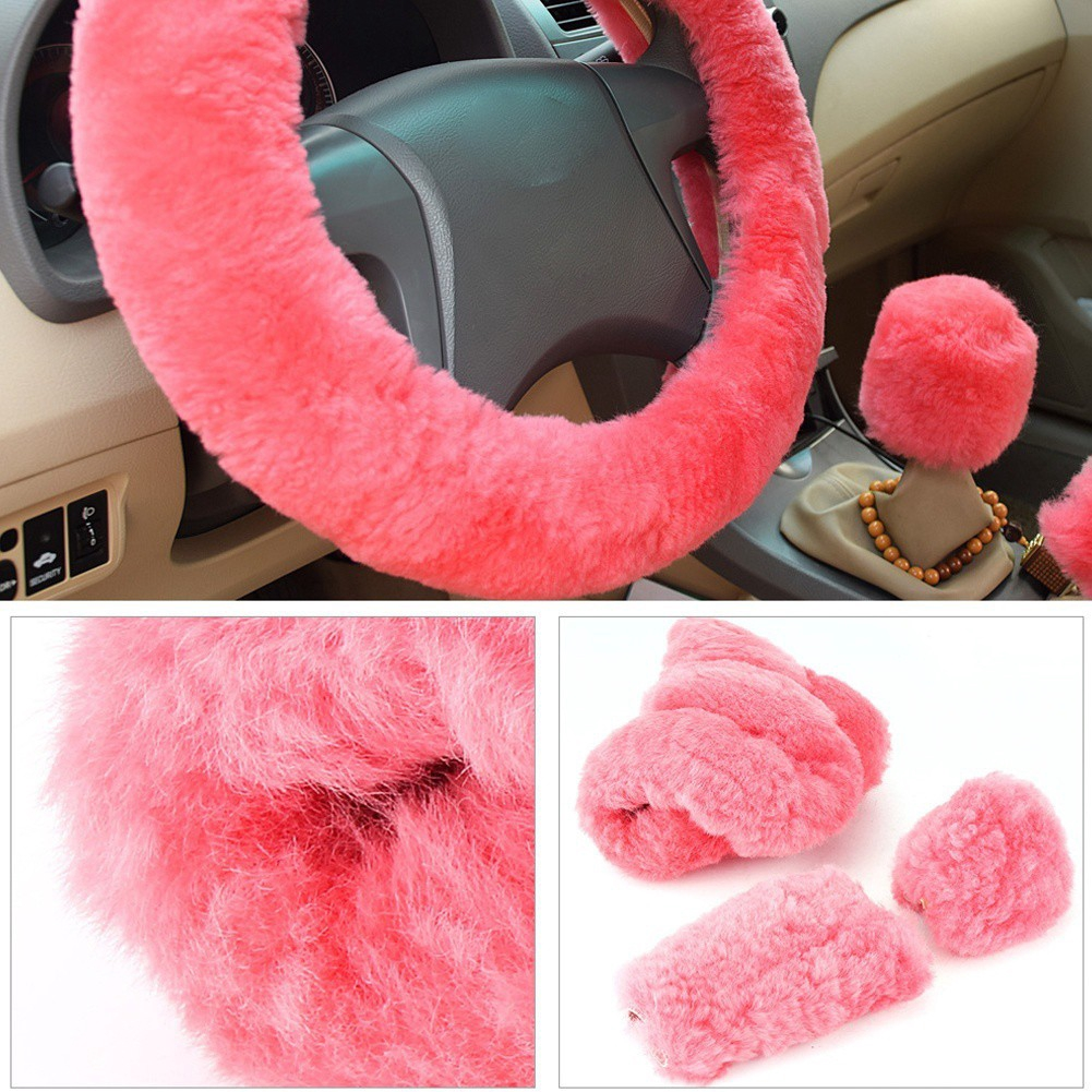 15 Synthetic Wool Winter Warm Steering Wheel Cover Soft Steering Wheel Cover Set Handbrake Cover Gear Shift Cover Set Deep Gray