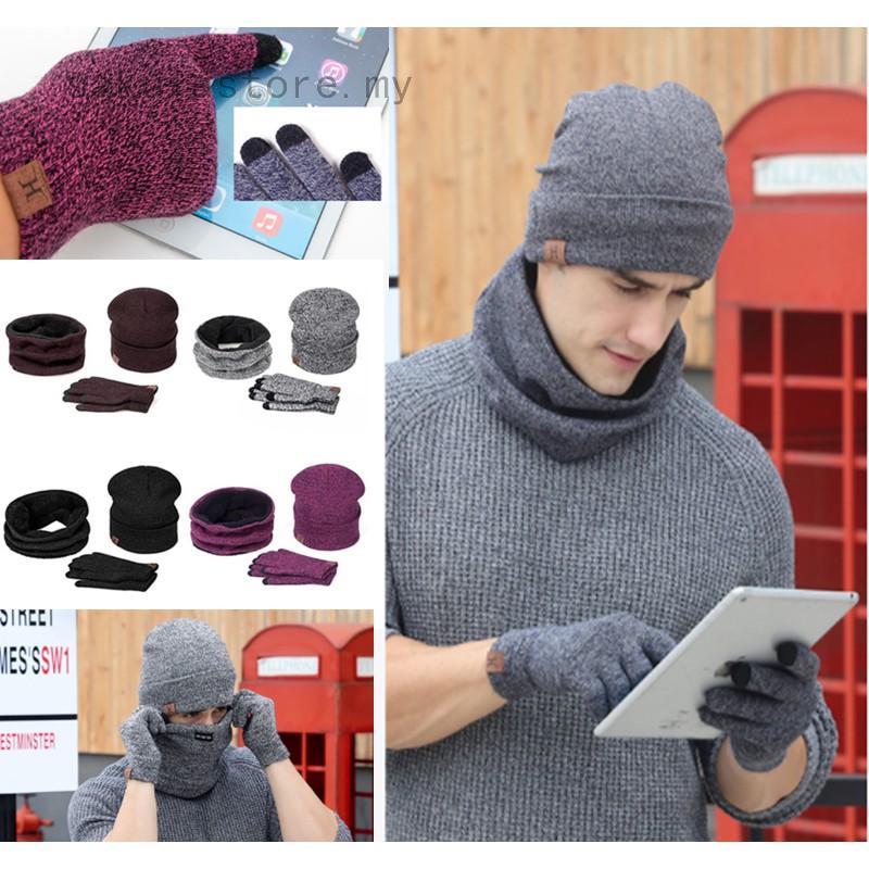 5ae2d1e4e 1 Set Men Women Beanie Ski Hat Winter Warm Gloves Scarf Hats Set Knitted |  Shopee Malaysia