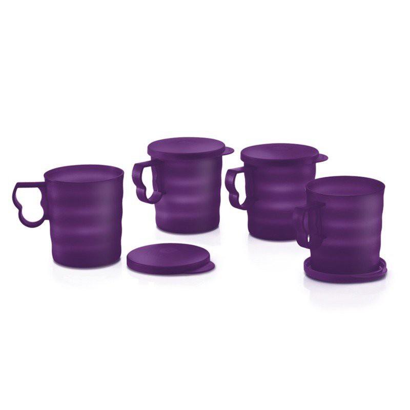 Tupperware Purple Royale Mugs with Seal (4) 350ml