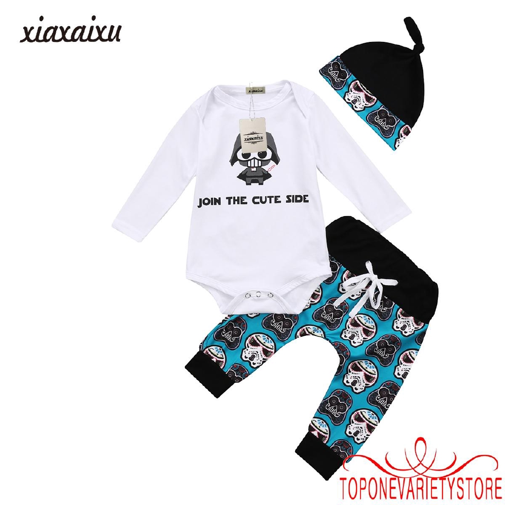 1b24c25fad734 YNN-Infant Newborn Baby Boy Girl Tops Romper Pants Hat 3Pcs Outfits Set  Clothes