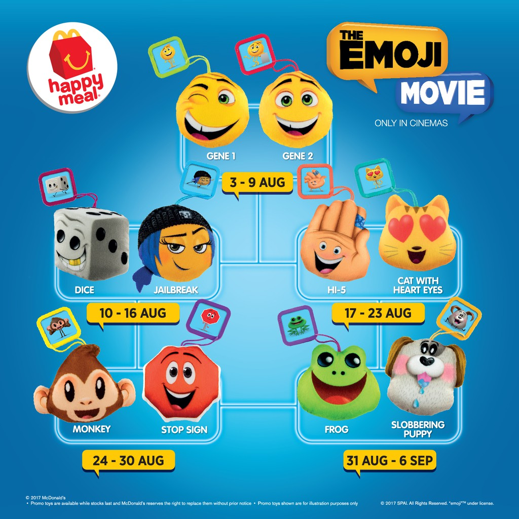 The Emoji Movie 2017 Mcdonalds Happy Meal Toy Complete Set Shopee Malaysia