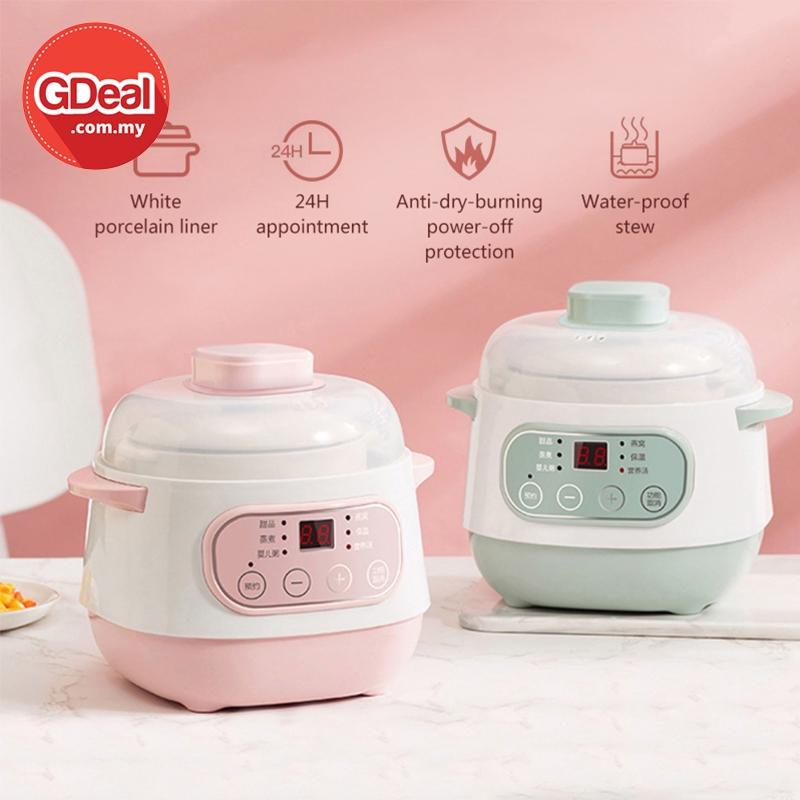 GDeal Electric Cooker Soup Stew Pot Automatic 1L Ceramic Smart Pot Periuk Memasak ڤريوق مماسق