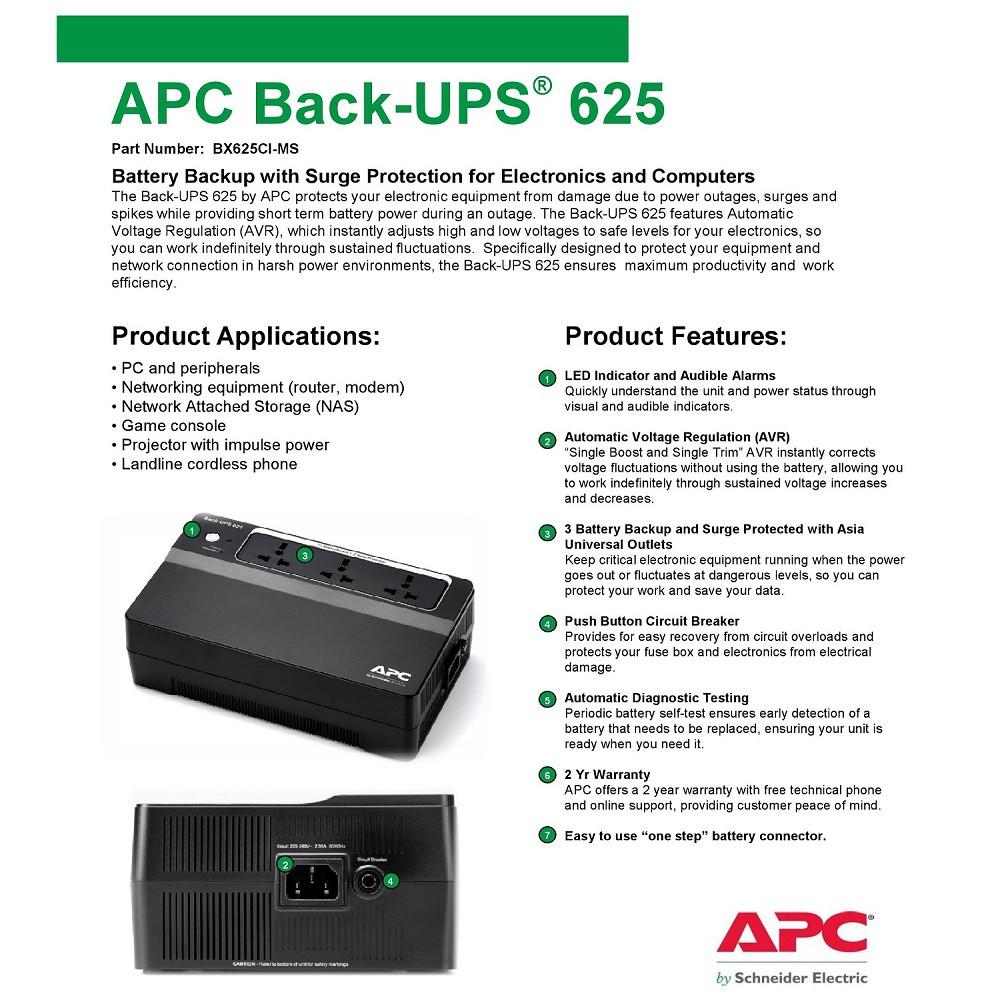 APC Back-Ups 625VA BX625CI-MS AVR Backup Battery & Surge Protector