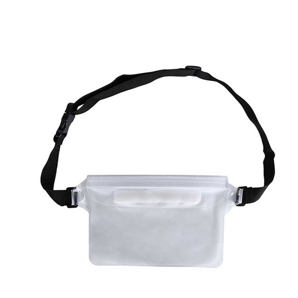 Waterproof Outdoor Swimming Drifting Pouch Dry Bag PVC Waist Phone Cover Storage Protective Bag White (White)