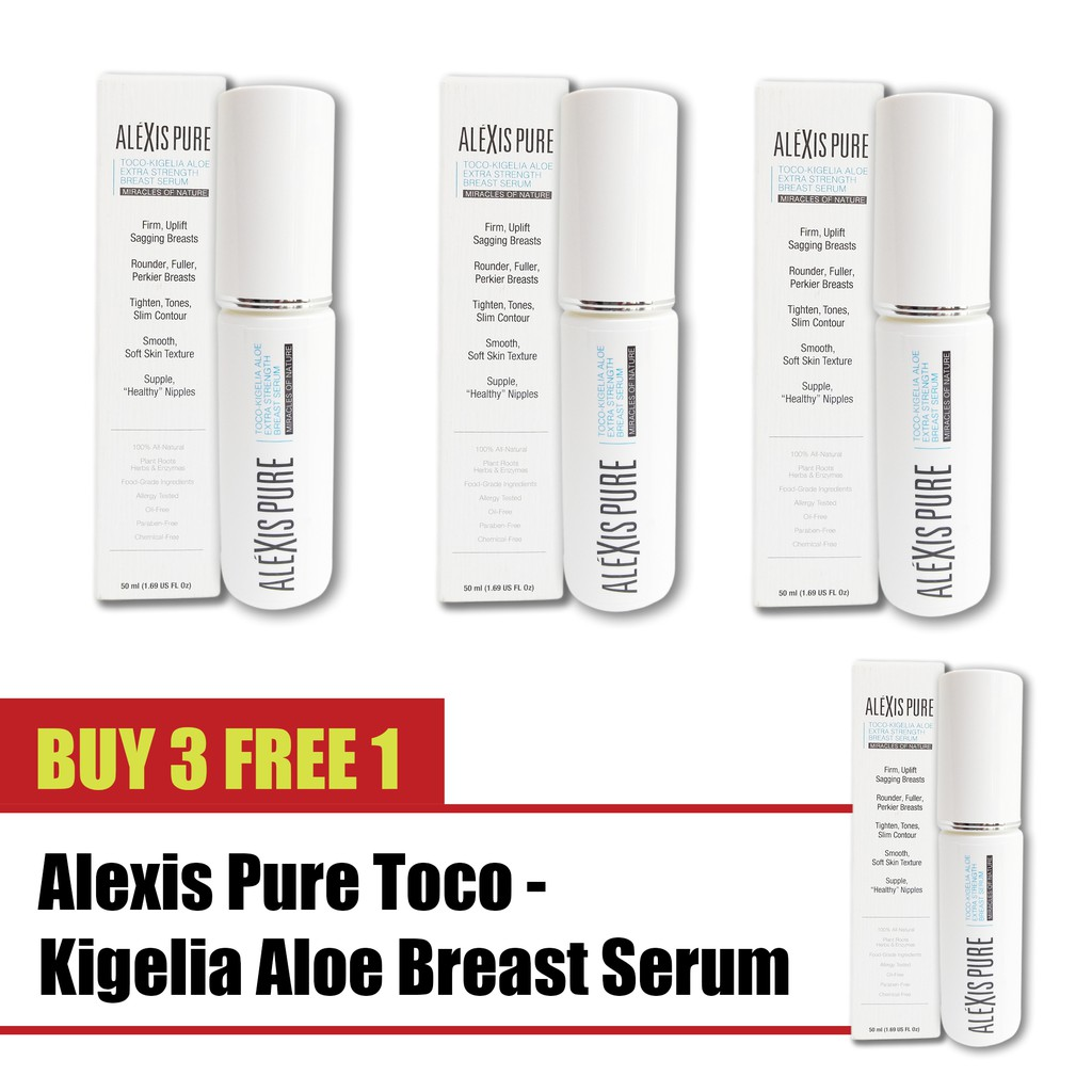 Buy 3 Free 1 Alexis Pure Toco-Kigelia Aloe Breast Firming Cream, breast lift & Push Up Naturally