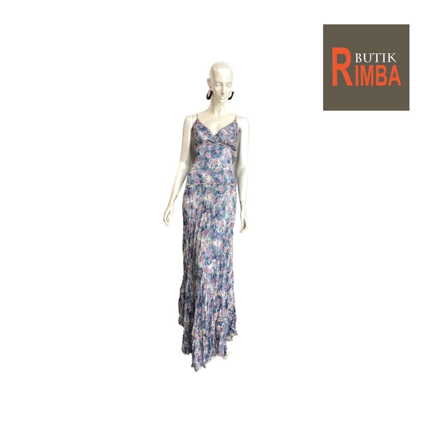 WOMEN FLORAL PRINTED MAXI SLEEVELESS DRESS COTTON FABRIC AND BEACH DRESS 02