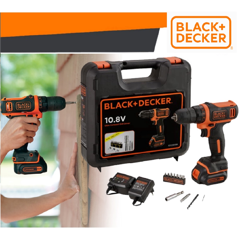 BLACK DECKER BDCDD12K-B1 10.8V ULTRA COMPACT LITHIUM-ION  CORDLESS DRILL DIEVR WITH KITBOX PEMAKI SKOR BATTERY 1.5 Ah