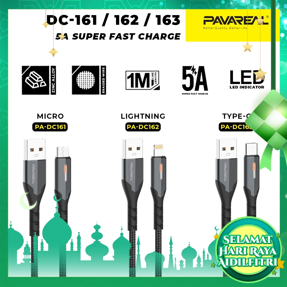 PAVAREAL PA-DC161/162/163 Premium Nylon Zinc Alloy 5A LED Fast Charging Cable Charge & Sync for iOS/Type C/Micro Samsung