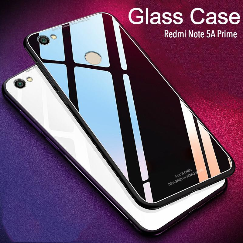 Redmi note 5A Prime case Tempered Glass Case Soft Frame Luxury Clear Glass  cover