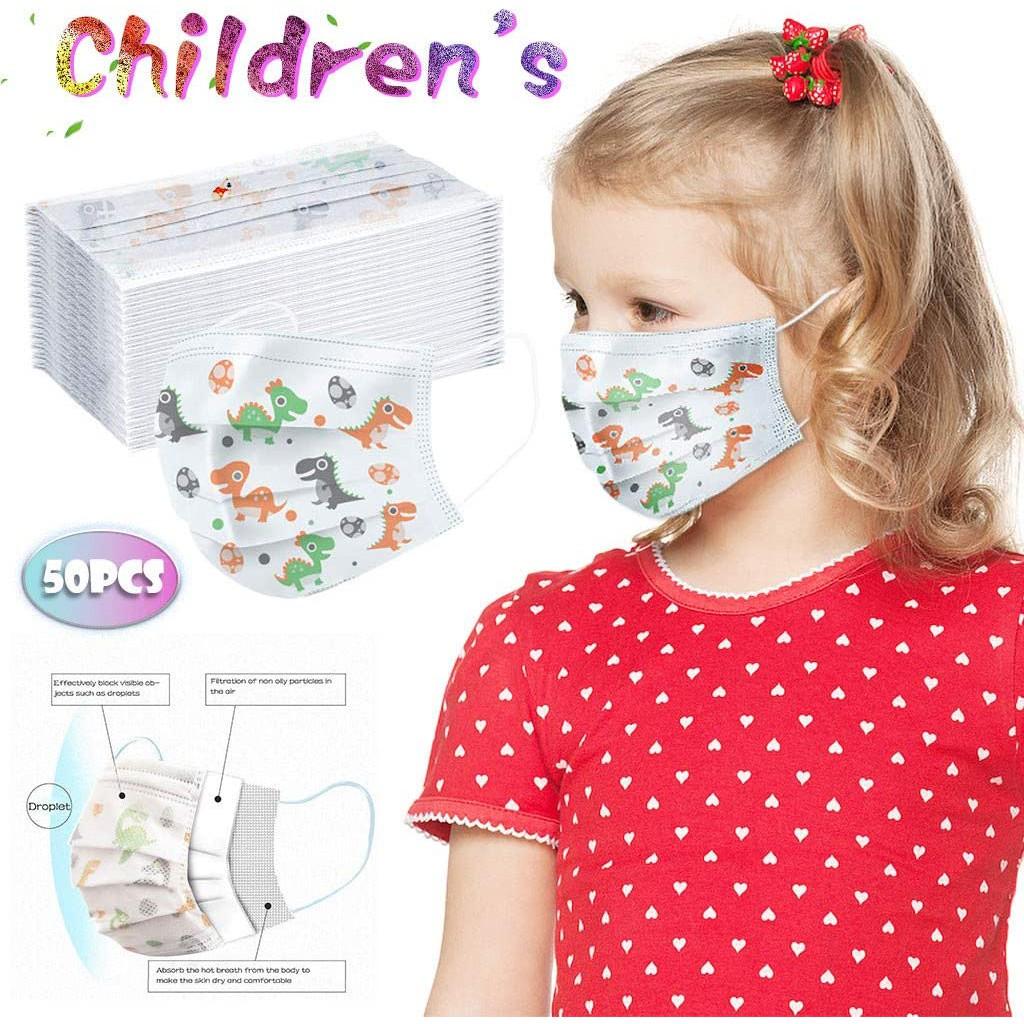 Kids 3ply face mask 50 pcs (Dinosaur pattern)