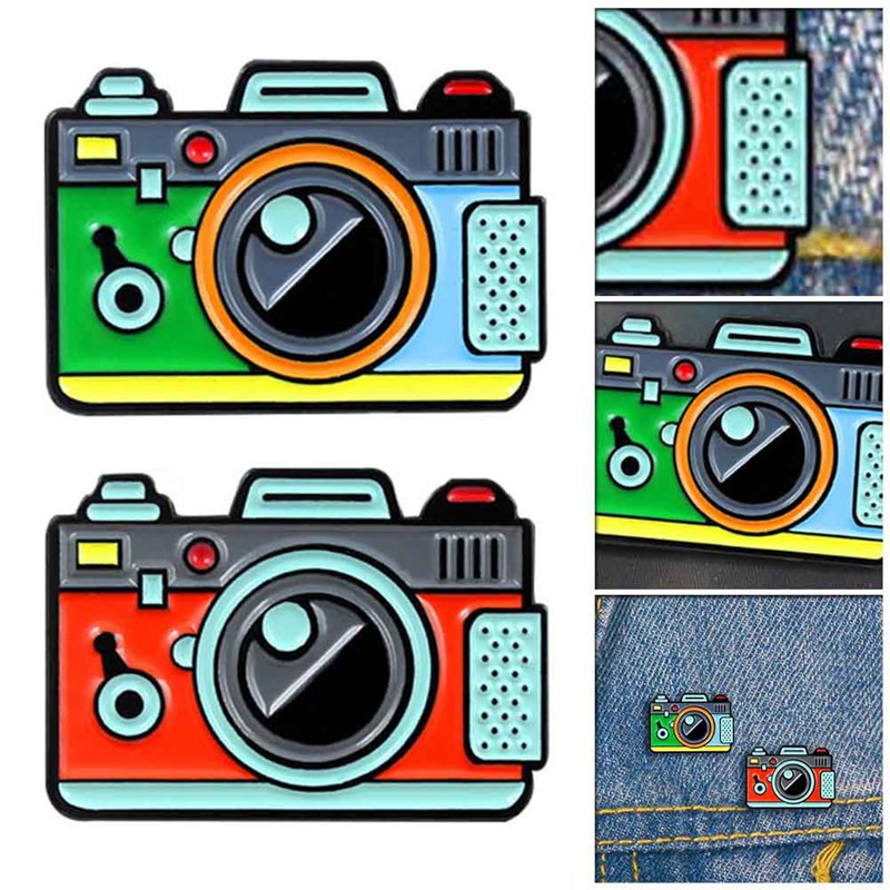 Camera Brooch 2Color Rainbow Creative Digital Camera Pins Coat Cap Backpack  Photography Kids Badge Gifts