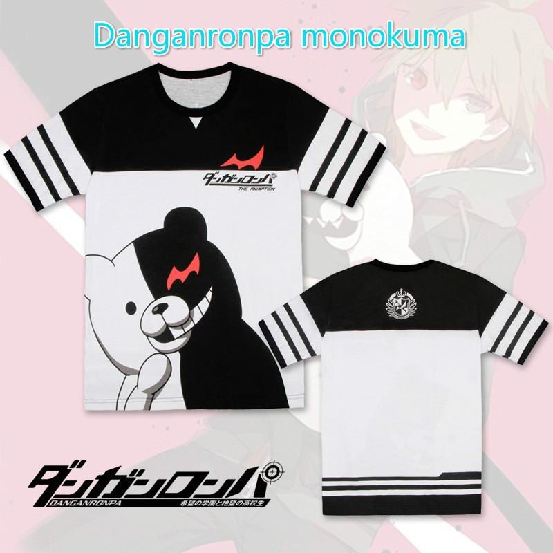 Anime Danganronpa Monokuma Black and White Bear Print Short Sleeves T -Shirt