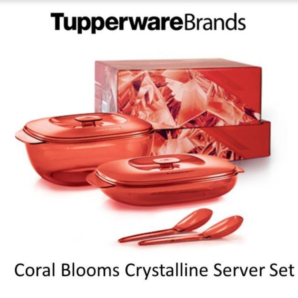 Tupperware Coral Blooms Crystalline Server Set (2 Pcs)