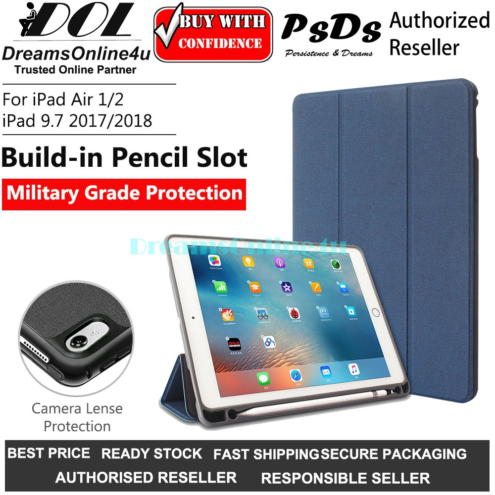 Psds Military Protection Smart Cover Case With Pencil Holder Ipad Air 1 2 Ipad 9 7 2017 2018 A1893 A1954 A1822 A1823 Shopee Malaysia