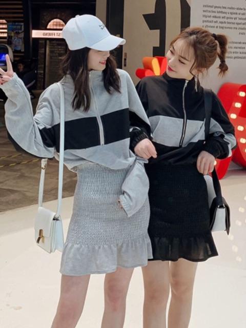 [S~XL]Korean sweater ruffled waist waist fishtail skirt春装款小个子穿搭闺蜜装卫衣连衣裙女荷叶边收腰鱼尾包臀裙