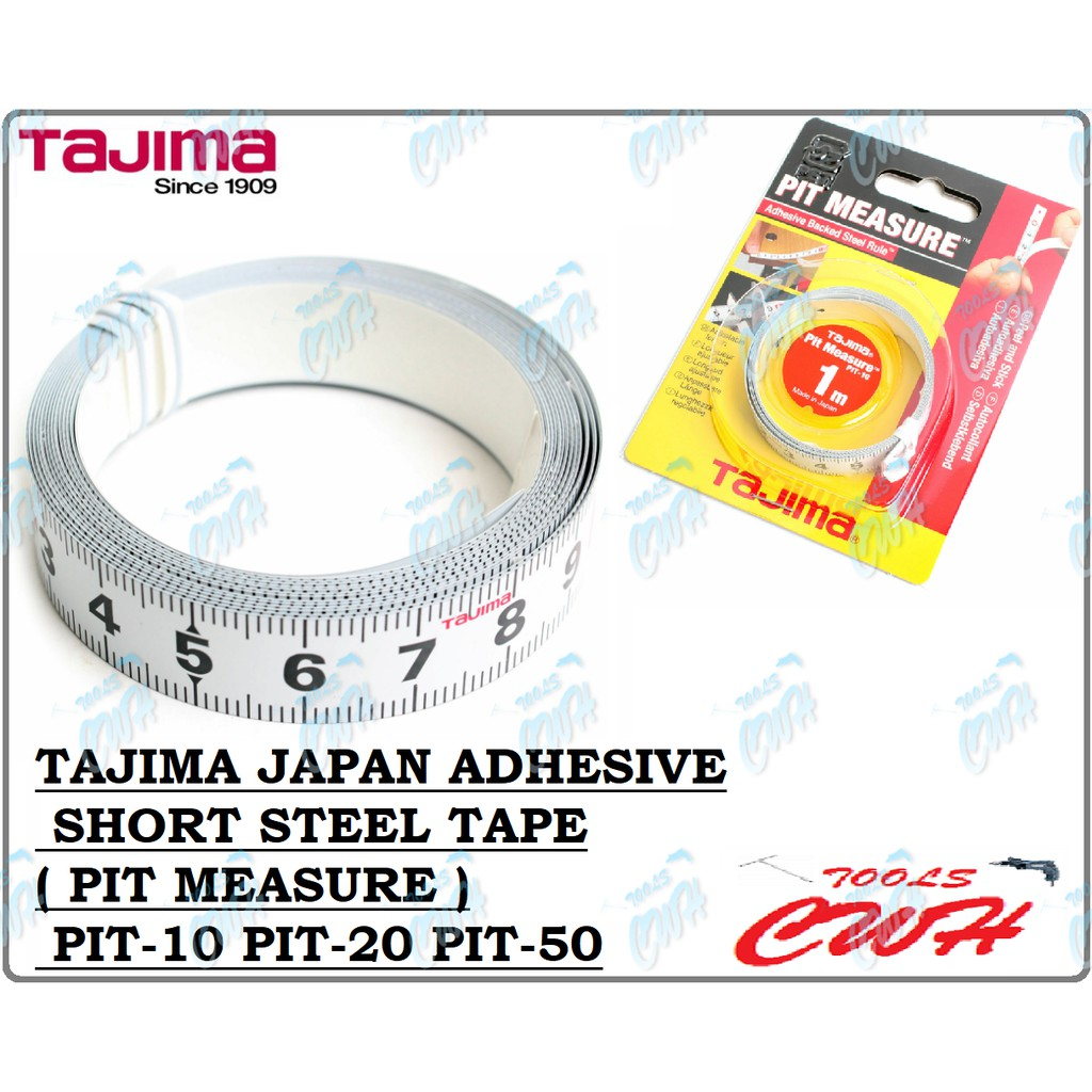 TAJIMA JAPAN ADHESIVE SHORT STEEL TAPE ( PIT MEASURE ) PIT-10 PIT-20 PIT-50