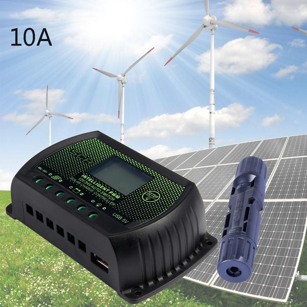 10a Pwm Lcd Solar Panel Battery Regulators Controller 12v 24v Mc4 Charge Connector Shopee Malaysia