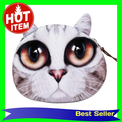 Cute Fashion Women Coin Purse 3D Cat Animal Head Print Tail Mini Wallet Zipper Closure Small Clutch Bag (1)