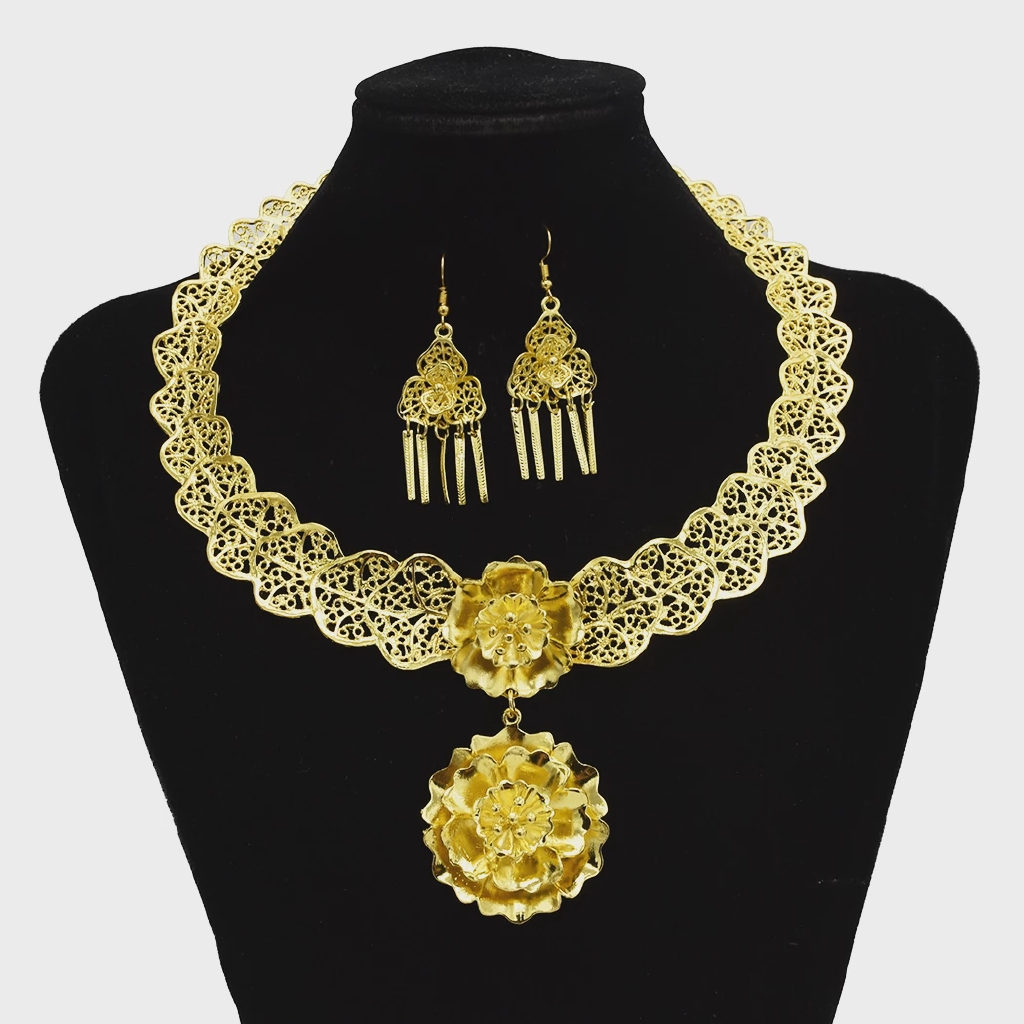 Gypsy Turkish Gold Silver Carved Flower Necklace Earrings Sets