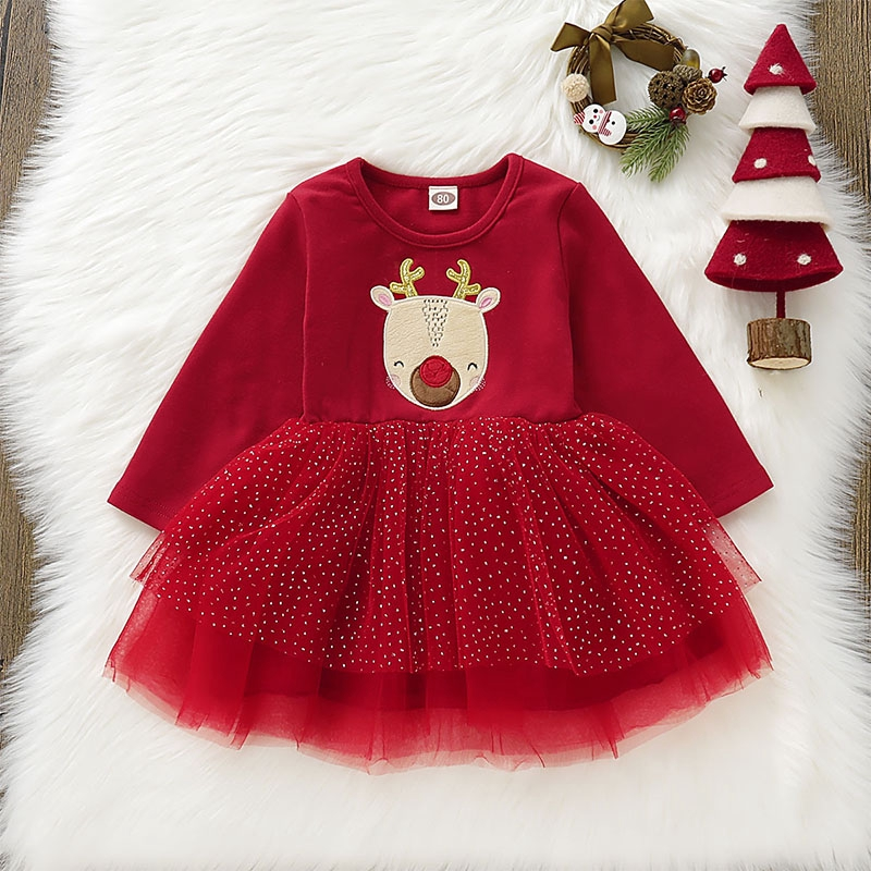 Baby Girls Kids Clothes Christmas Party Red Santa Long Sleeve Tulle Tutu Dresses