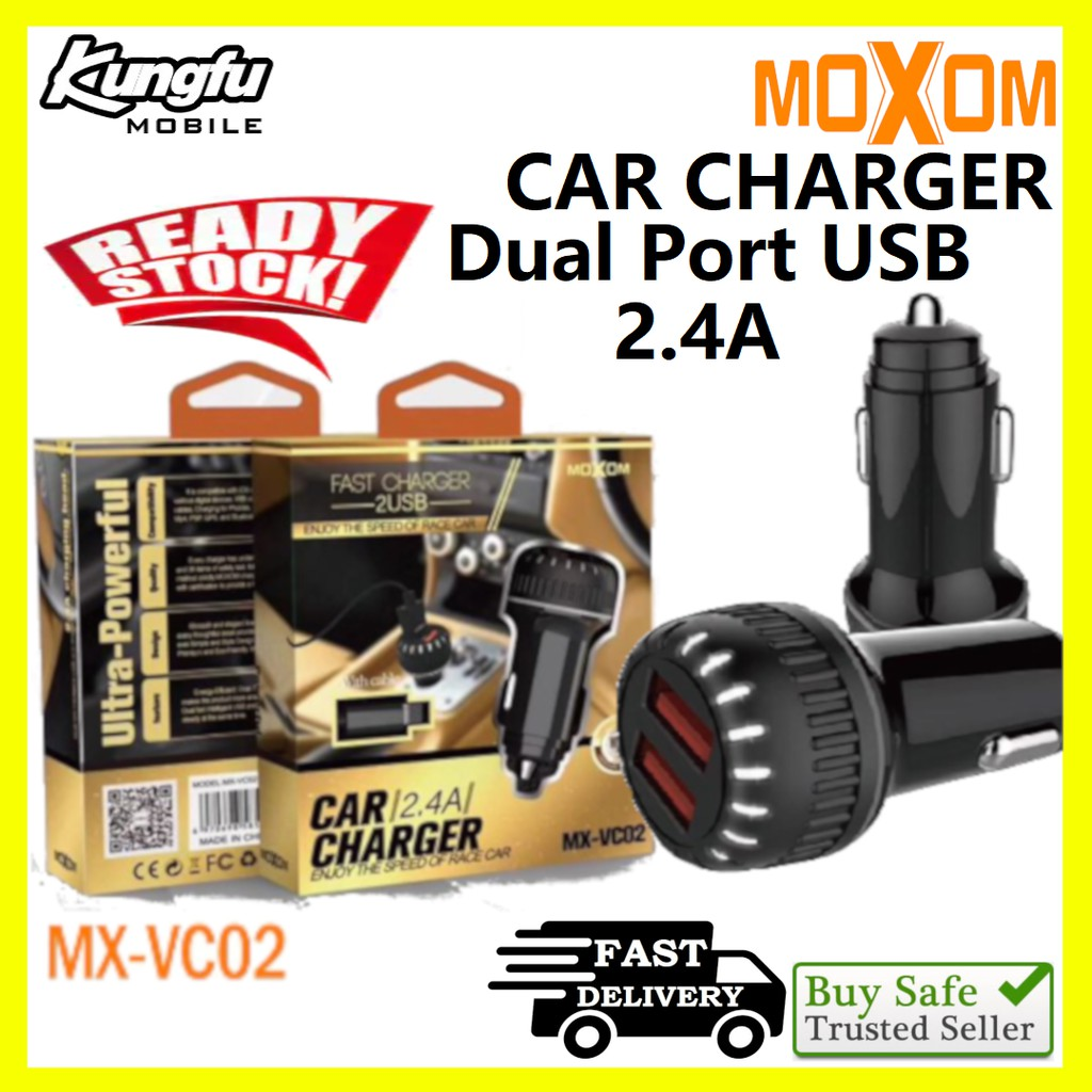 Moxom MX-VC02 Dual USB Port 2.4A Charging Output Car Charger With Micro Cable