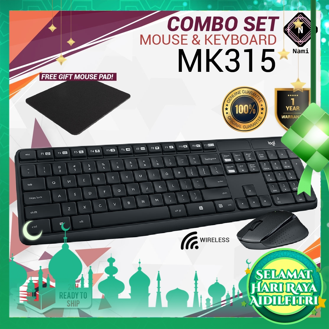 Logitech MK315 Quiet Wireless Combo Keyboard + Mouse ORIGINAL (EXTRA Protection + Fragile Sticker)