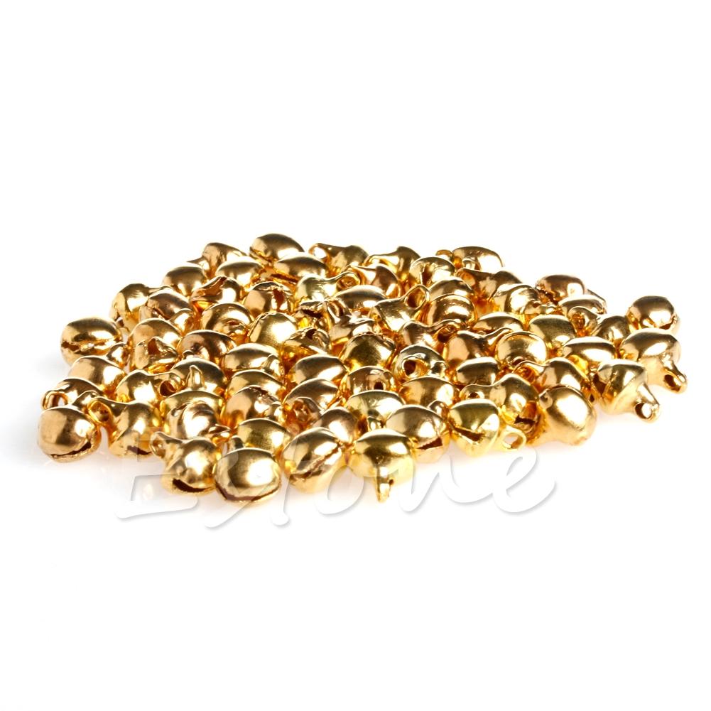 6mm 100 gold coloured metal bells