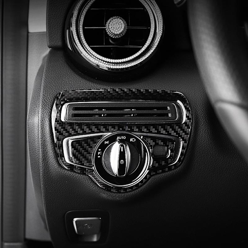 Carbon Fiber Headlight Switch Button Frame For Mercedes Benz C Class W205 GLC