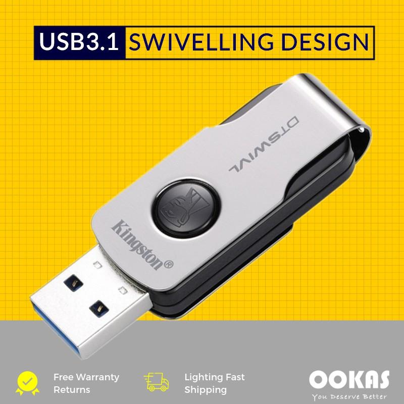 KINGSTON DTSWIVL USB 3 1 16GB/32GB/64GB/128GB Flash Drive / Pendrive