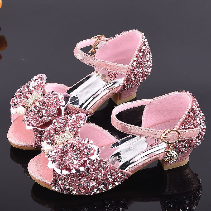 Baby Girls Sandals 3-12 Years Little Kid Summer Sweet Crystal Bowknot Upper Sandal Princess Pump Shoes Slippers Flat Boots