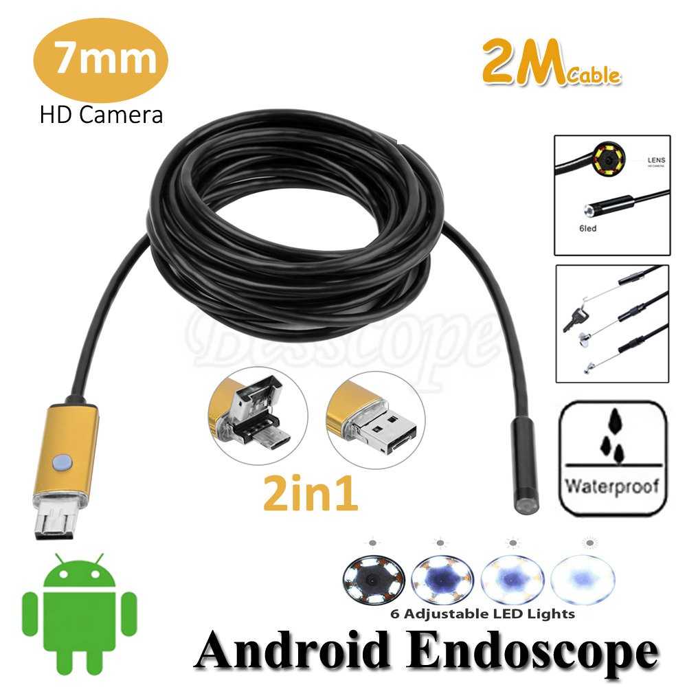 READY STOCK SHP] 6 LED 5.5mm Lens 2IN1 Android Endoscope Waterproof Inspection Borescope