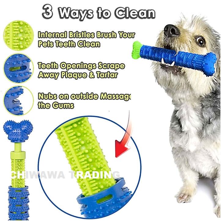 CHEWBRUSH Dog Toothbrush Teeth Cleaning Tooth Massage Pet Chew Toy Rubber Brush Molar Stick Bone for Puppy Doggy Cat