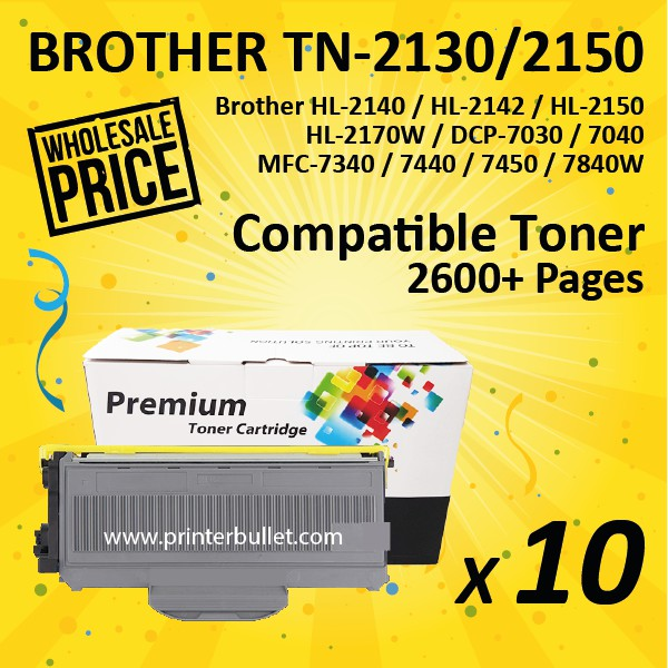 10 unit Brother TN-2130 Compatible High Quality Toner Cartridge