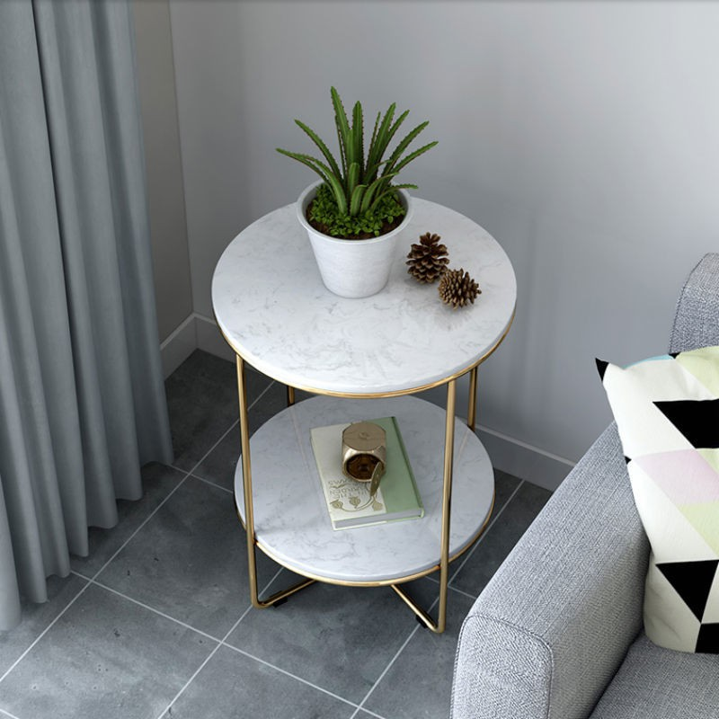 Nordic Glass Coffee Table Balcony Small Round Table Simple Modern Creative Wrought Iron Living Room Sofa Corner Bedside Table Shopee Malaysia