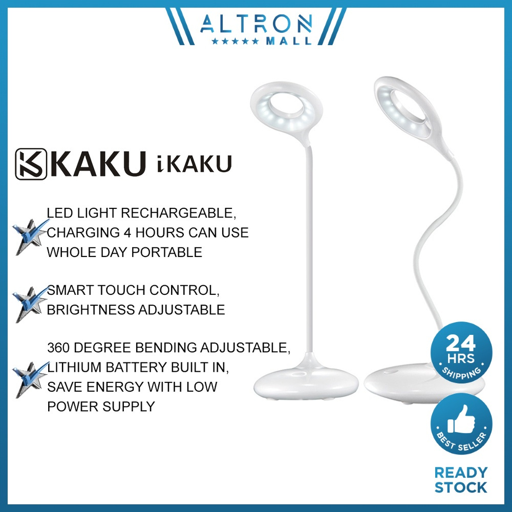 IKAKU KAKU LINGGUANG LED Touch Dimming Desk Table Lamp Bed Light Reading Eye Protection USB Rechargeable Portable