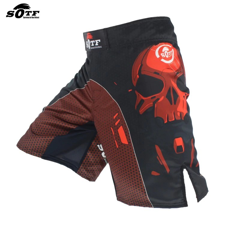 MMA Red /& Black Fighting Glory Sports Breathable Muay Thai Shorts Trunks Free Sh