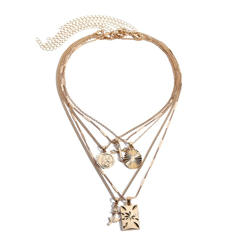 Lady Fashion Boho Cross Rose Pendant  Flower Multi-layer Chain Choker Necklace