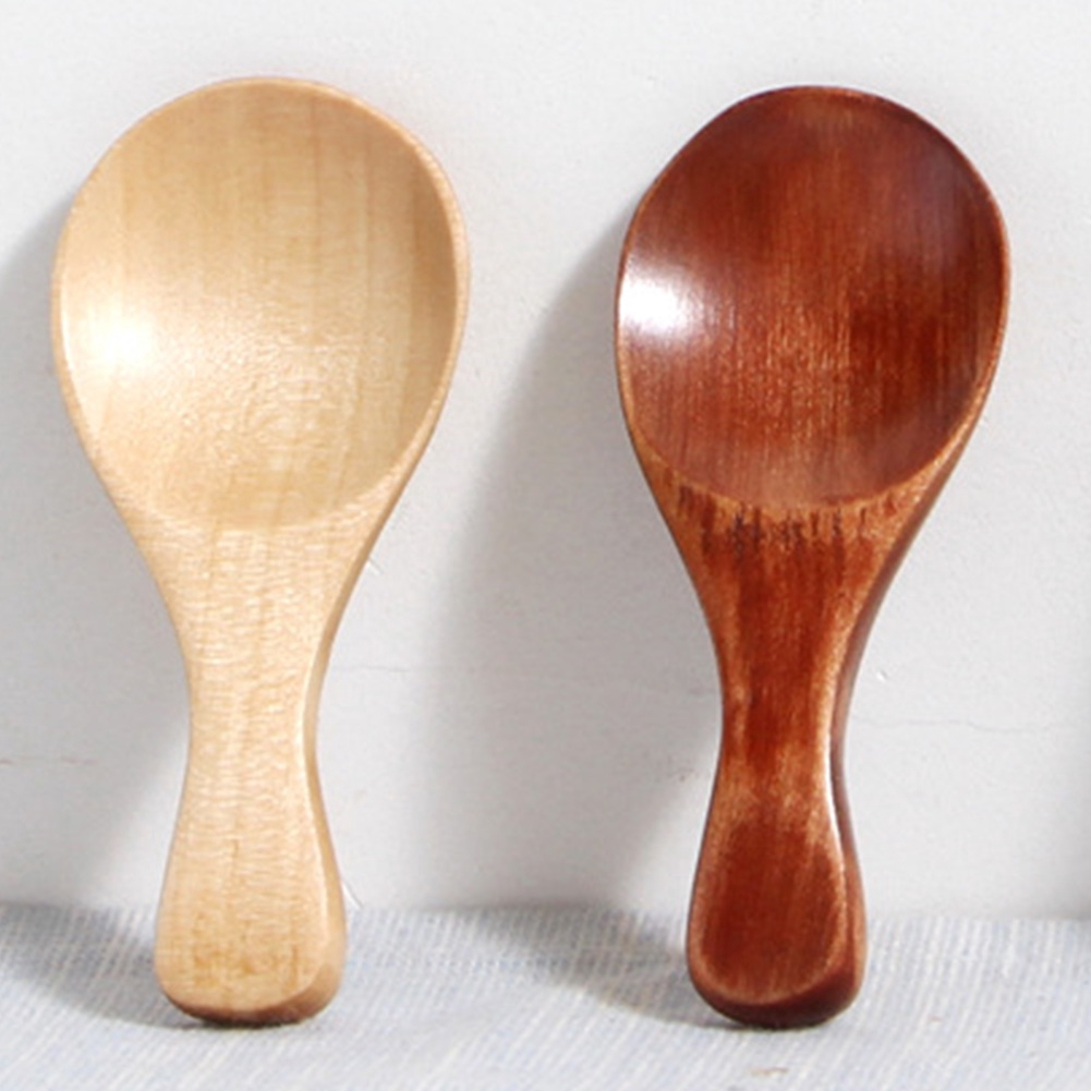 Small Little Mini Wooden Spoon Scoop Tea Honey Coffee Condiment Salt Sugar