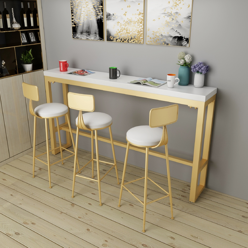 Picture of: Nordic Creative Milk Tea Shop Bar Table Against The Wall Long Solid Wood Household Coffee Tables And Chairs Bar Shopee Malaysia