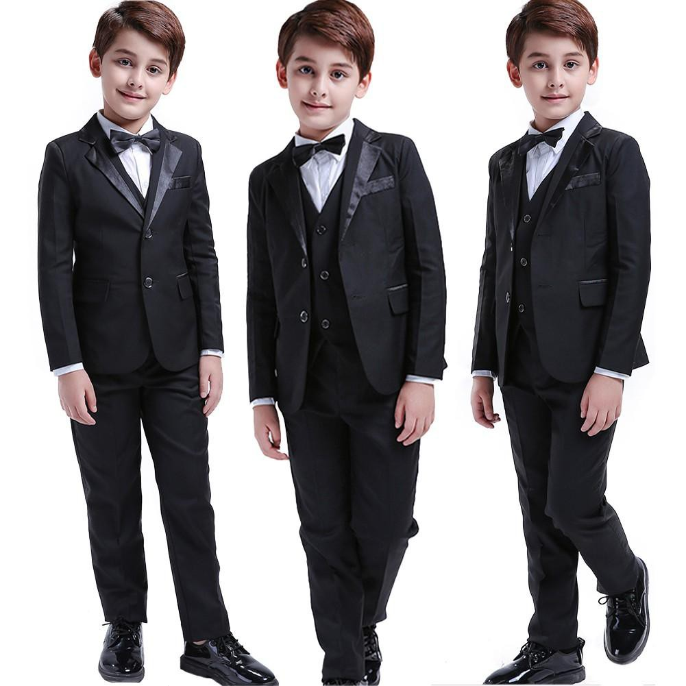 Boys Solid Navy Blue Suit Tuxedo 5 Piece Set Notch Lapel Kids Formal Dress Vest