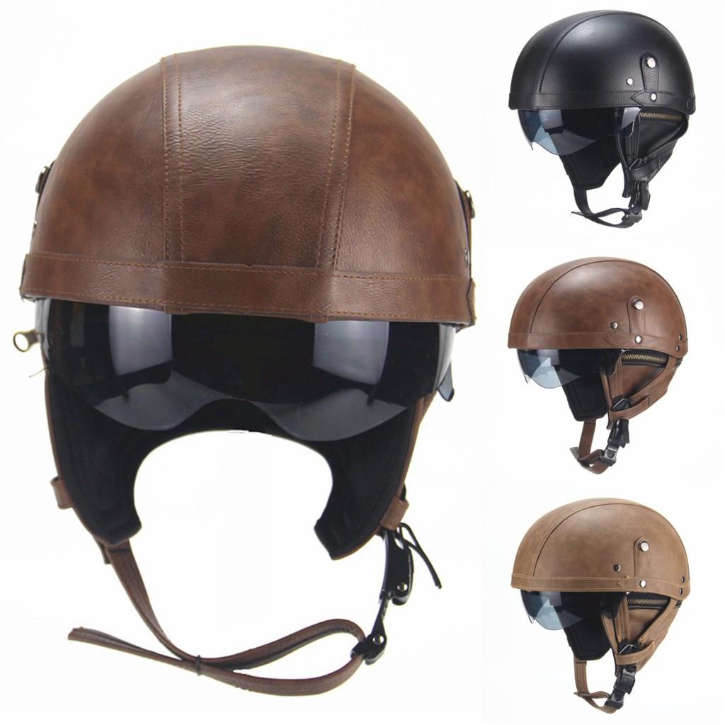 "22/""-24/"" Retro PU Leather ABS Motorbike Scooter Half Helmets //w Visor"