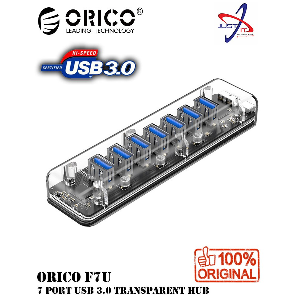 ORICO F7U-U3-CR 7 PORT USB 3 0 TRANSPARENT HUB