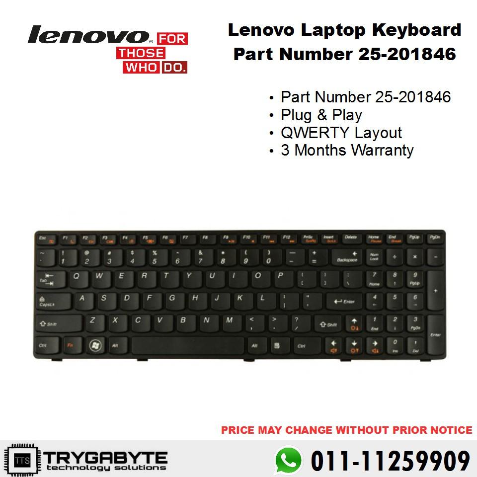 Laptop Lenovo Ideapad Keyboard Part Number 25-201846 / Keyboard Replacement