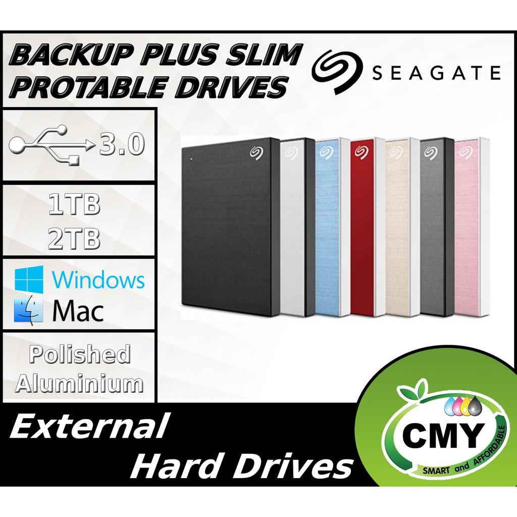 Seagate 1TB 2TB Backup Plus Slim Aluminium Portable External Hard Disk Drive + Face Mask (T&C)