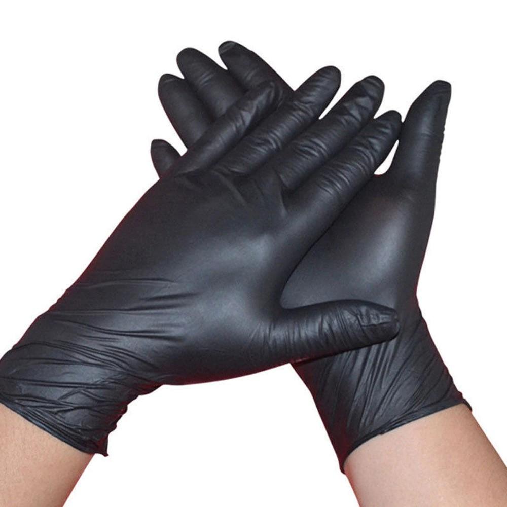 black comfortable rubber disposable mechanic nitrile gloves